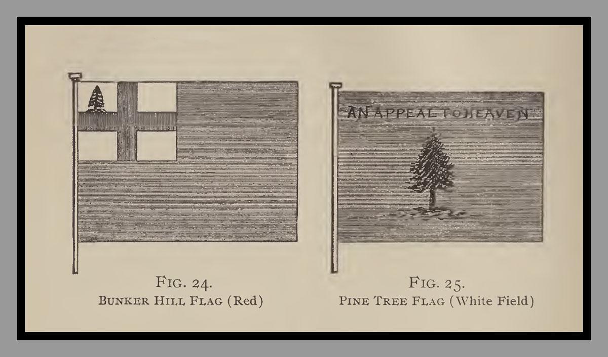 Bunker Hill Flag and Pine Tree Flag